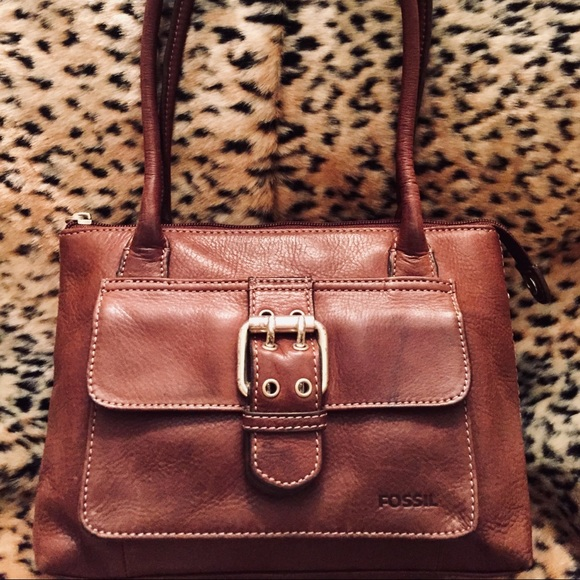 Fossil Handbags - FOSSIL Small Brown Messenger Top Handle Bag
